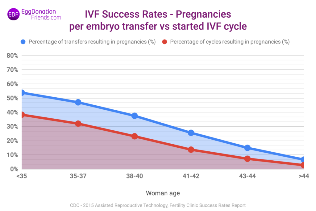 IVF success rates - pregnancies per embryo transfer vs started IVF cycle