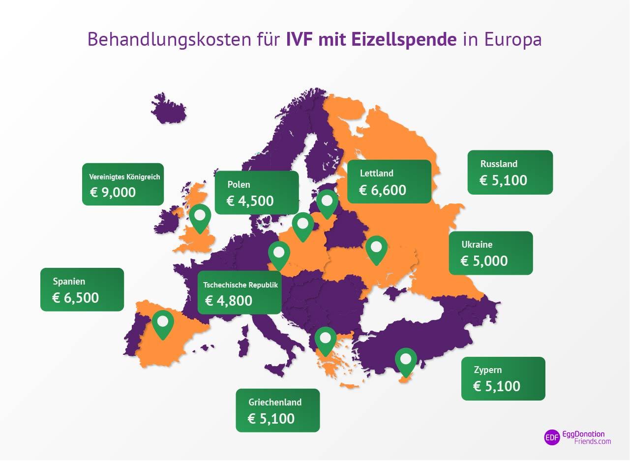 IVF Behandlung mit Eizellspende Kosten Landkarte