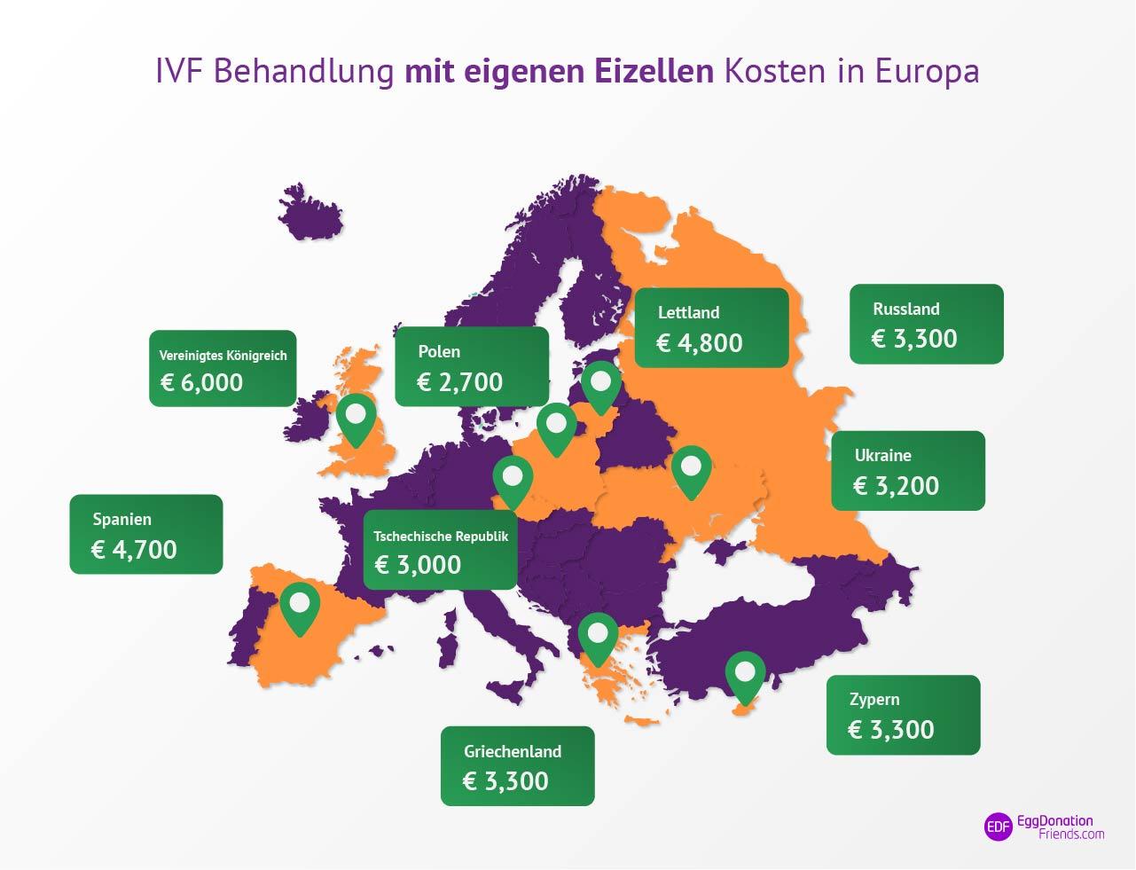 IVF Behandlung mit eigenen Eizellen Kosten Landkarte