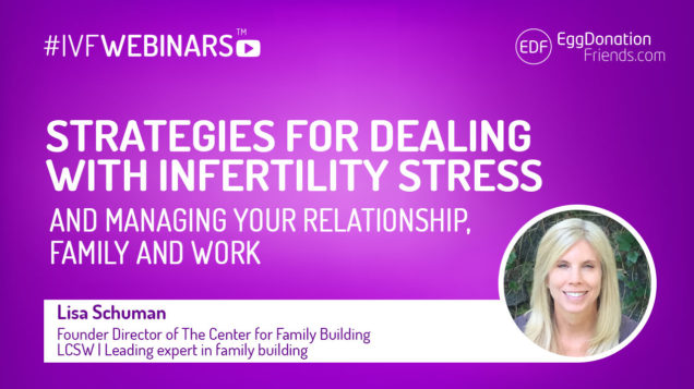 Strategies for dealing with infertility stress and managing your relationship, family and work. #IVFWEBINARS with Lisa Schuman from The Center for Family Building